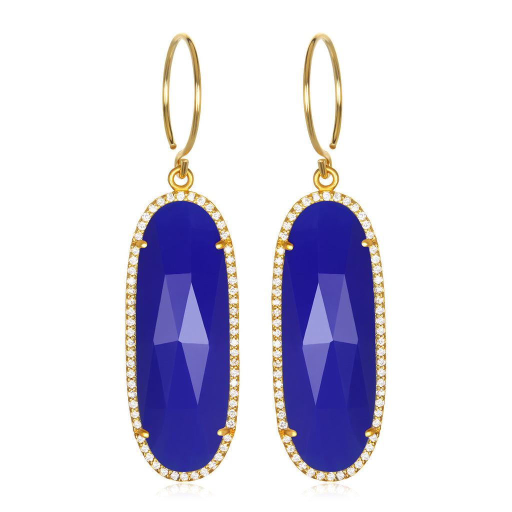 Paris Grand Oval Earring - Dark Blue Clear Gold
