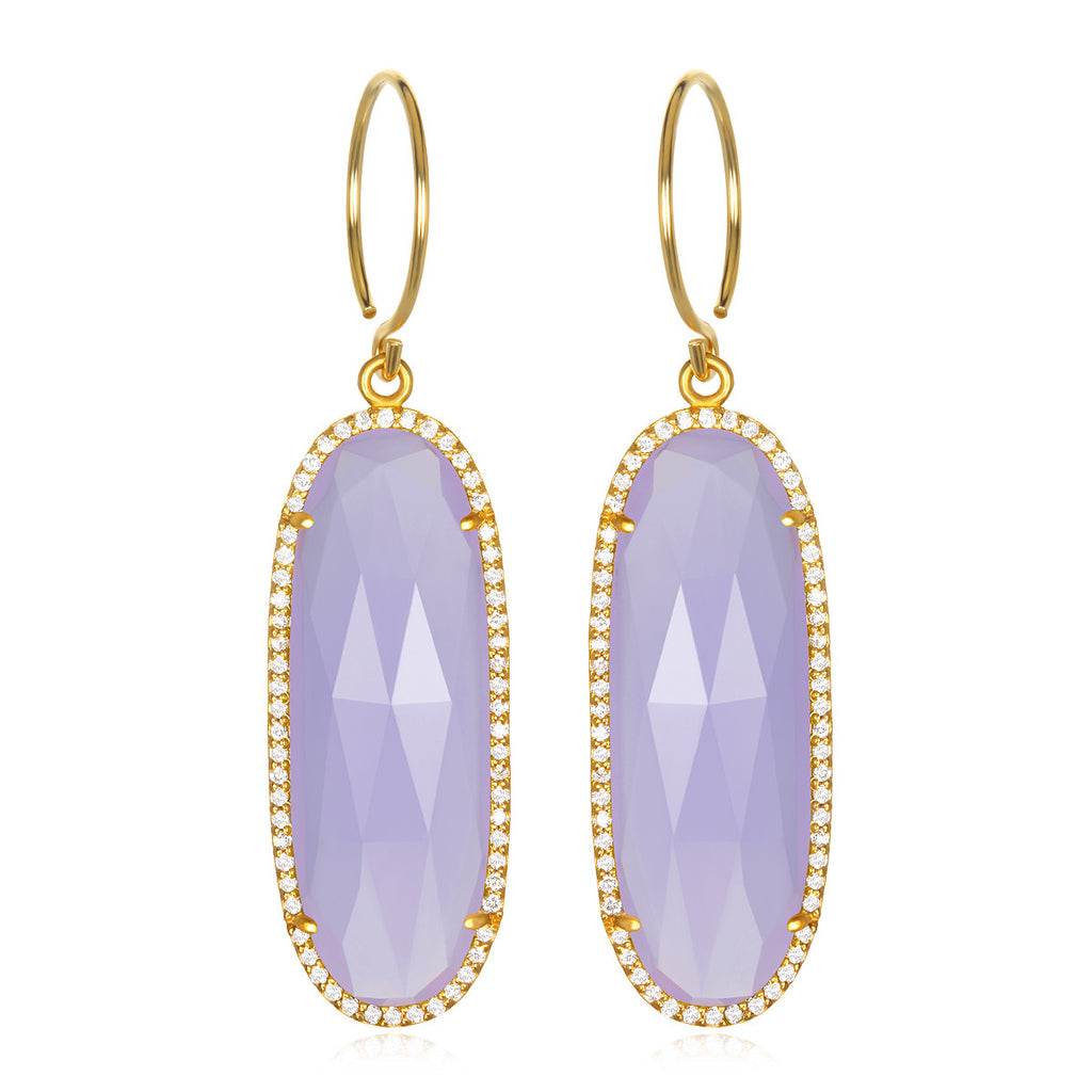Paris Grand Oval Earring - Purple Clear Gold