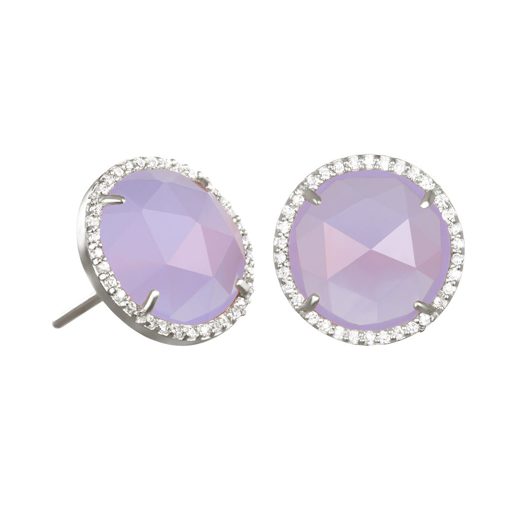 Paris Round Stud-Purple with Clear Silver