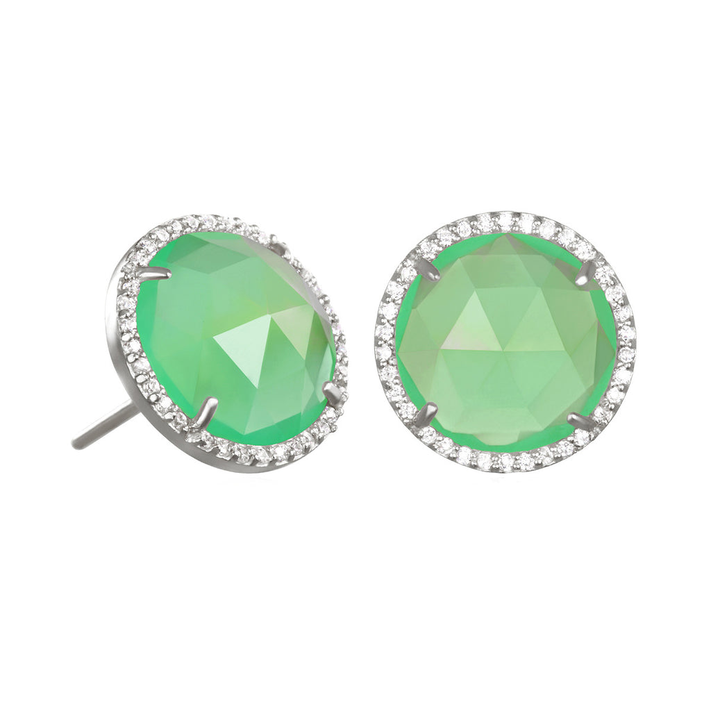 Paris Round Stud-Mint with Clear Silver