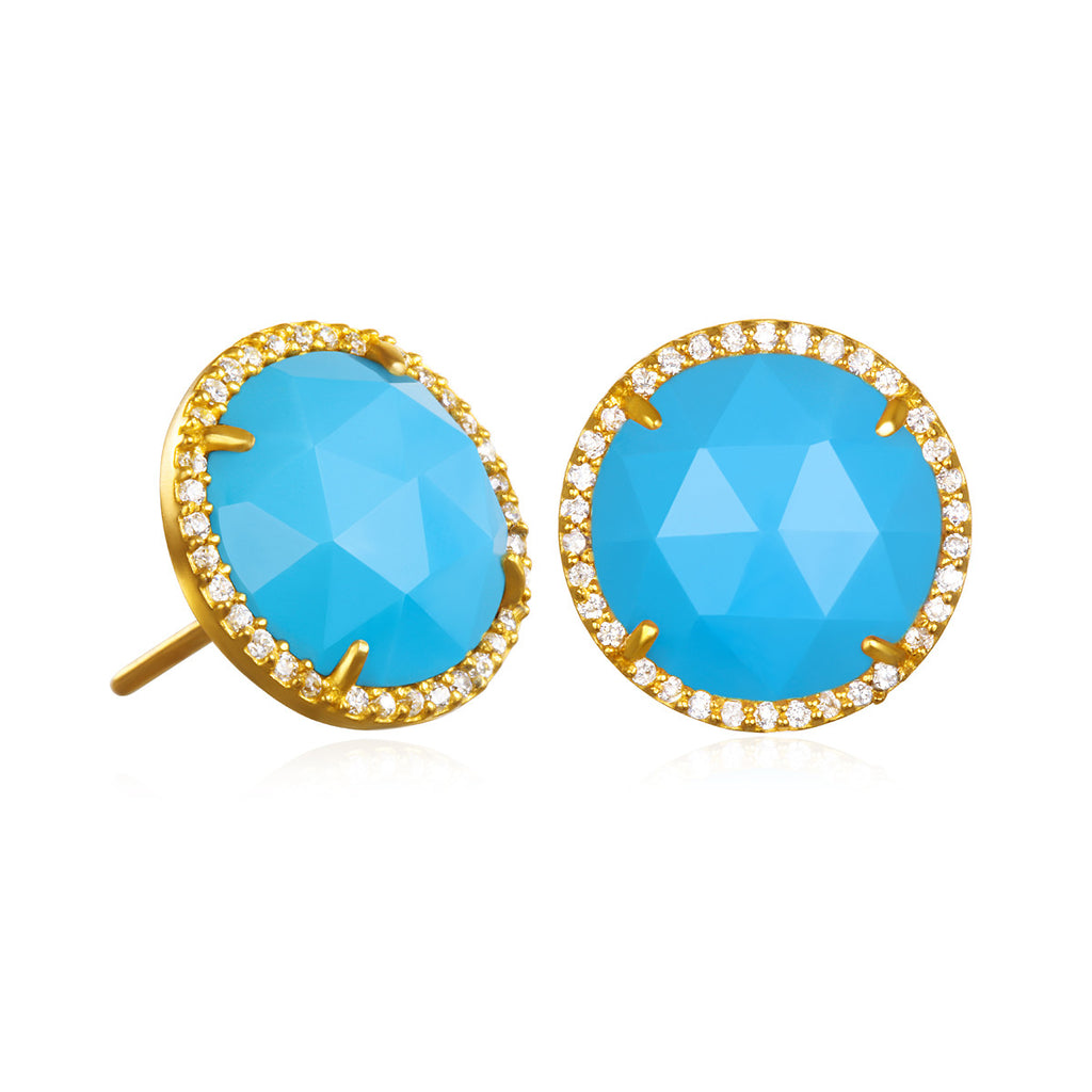 Paris Round Stud-Turquoise with Clear Gold