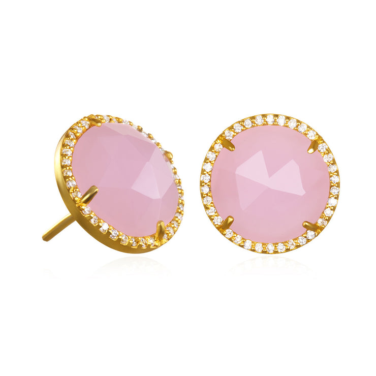 Paris Round Stud-Pink with Clear Gold