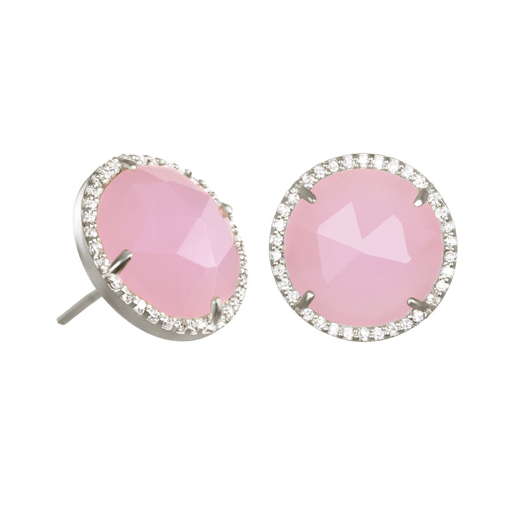 Paris Round Stud-Pink with Clear Silver