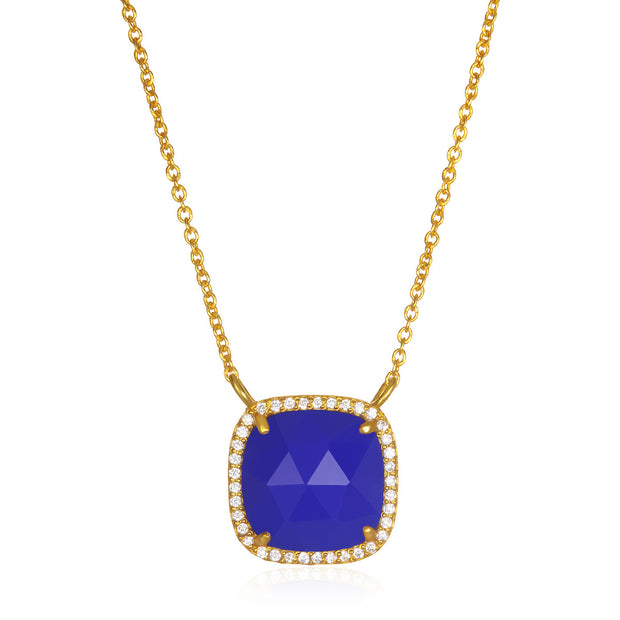 Paris Cushion Necklace - Dark Blue Gold