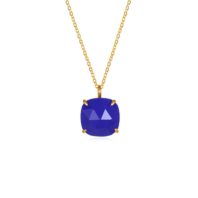 Catalina Single Cushion Necklace Blue Chalcedony Gold