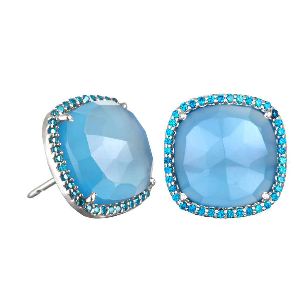 Paris Stud-Blue with Blue Silver