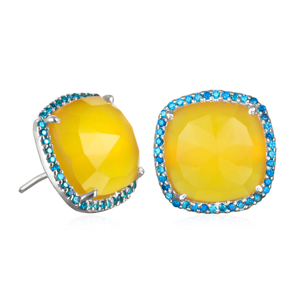 Paris Stud-Yellow with Blue Silver