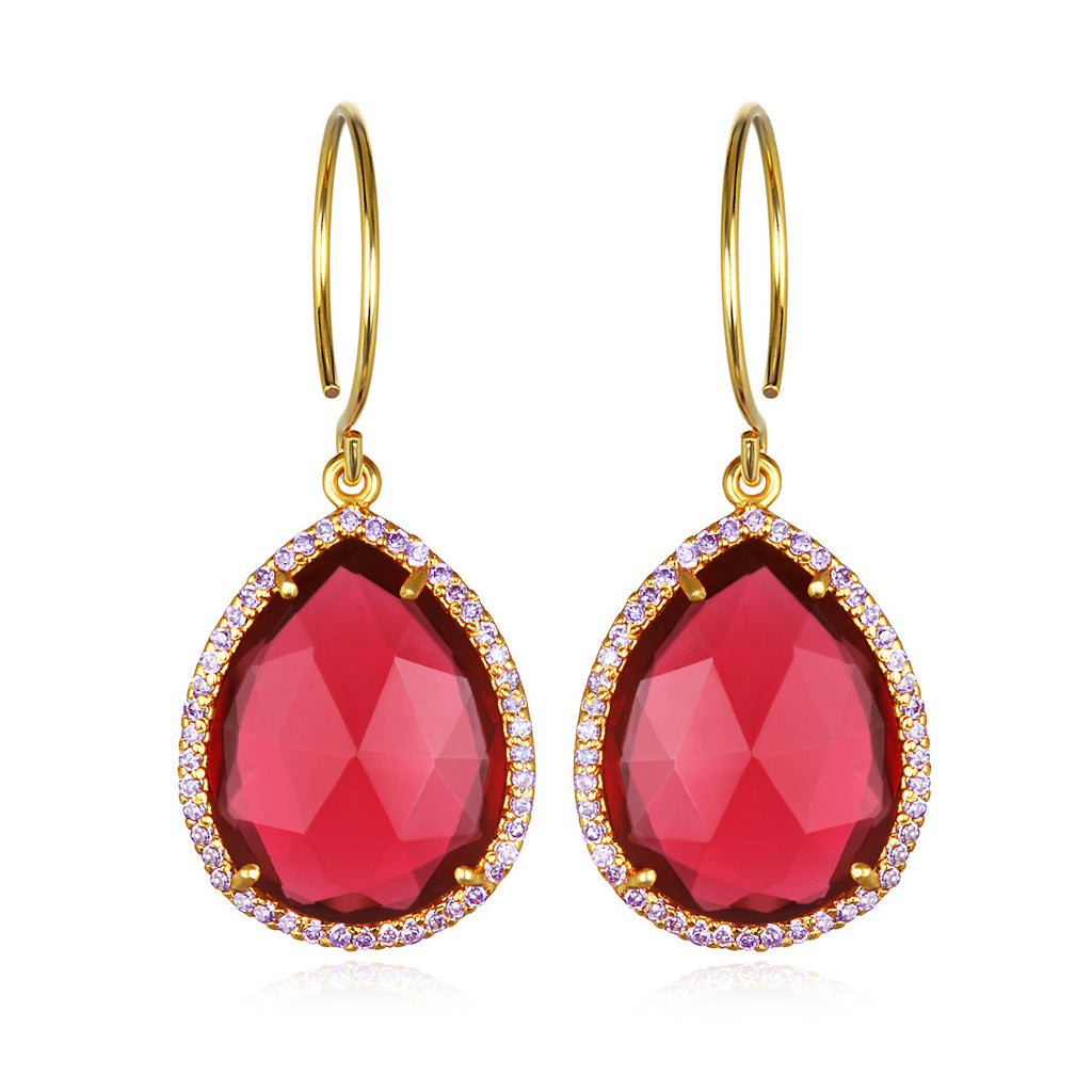 Paris Gem Teardrop - Ruby Gold