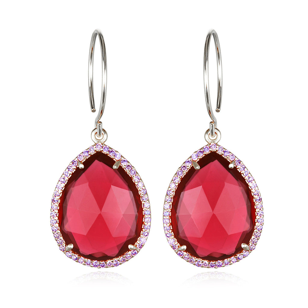 Paris Gem Teardrop - Ruby Silver