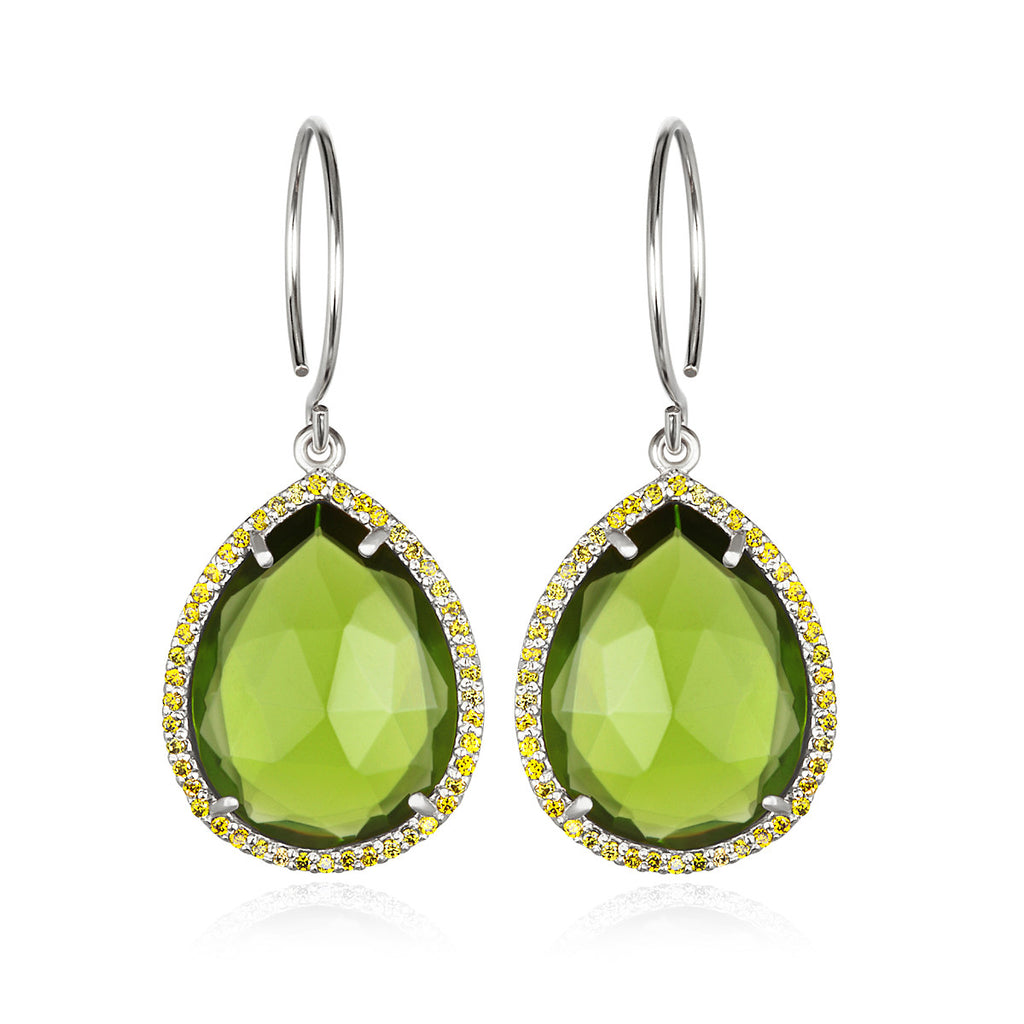 Paris Gem Teardrop - Lime Silver