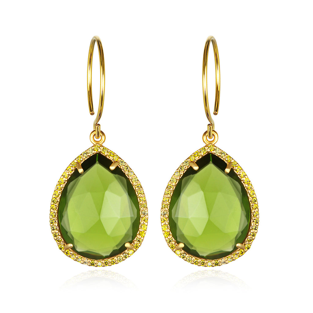Paris Gem Teardrop - Lime Gold