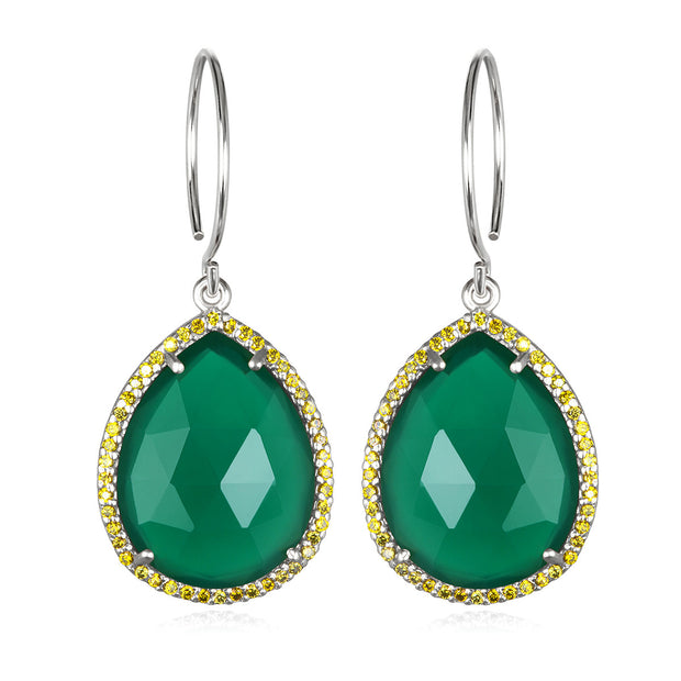 Paris Gem Teardrop - Emerald Silver