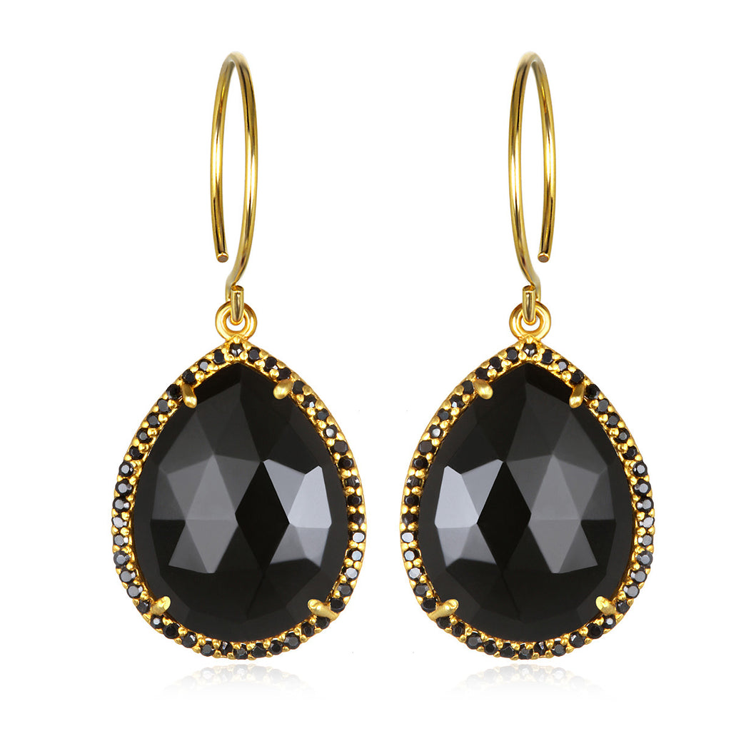 Paris Gem Teardrop - Black Gold