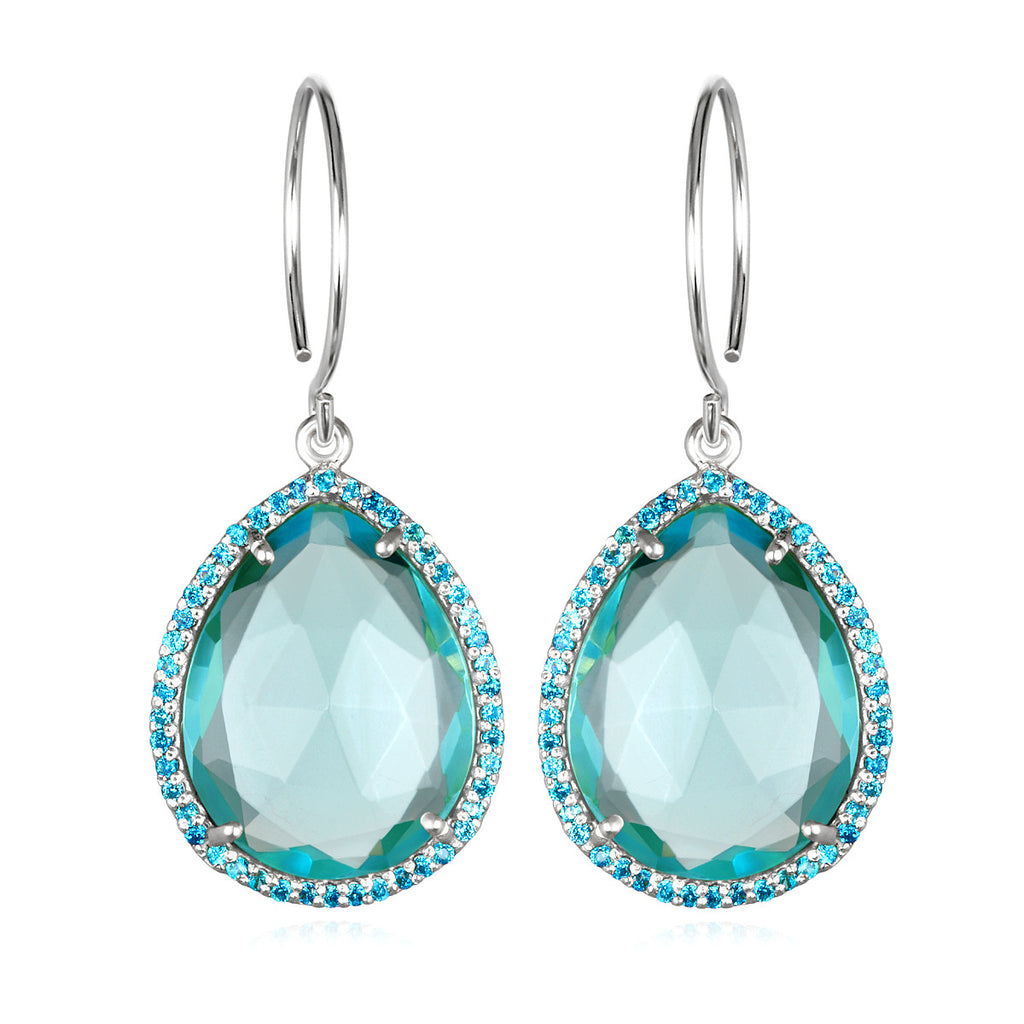 Paris Gem Teardrop - Sky Blue Silver