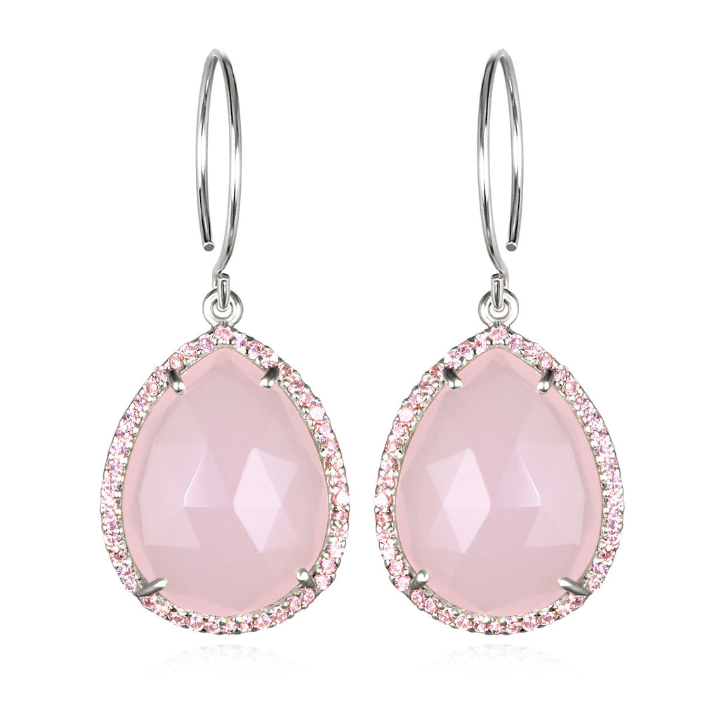 Paris Gem Teardrop - Pink Silver
