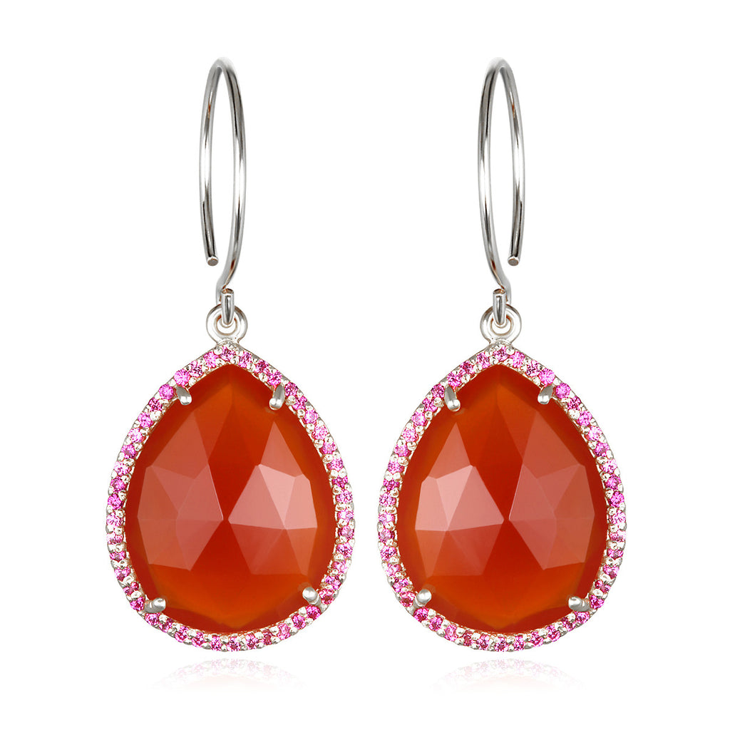 Paris Gem Teardrop - Orange Silver