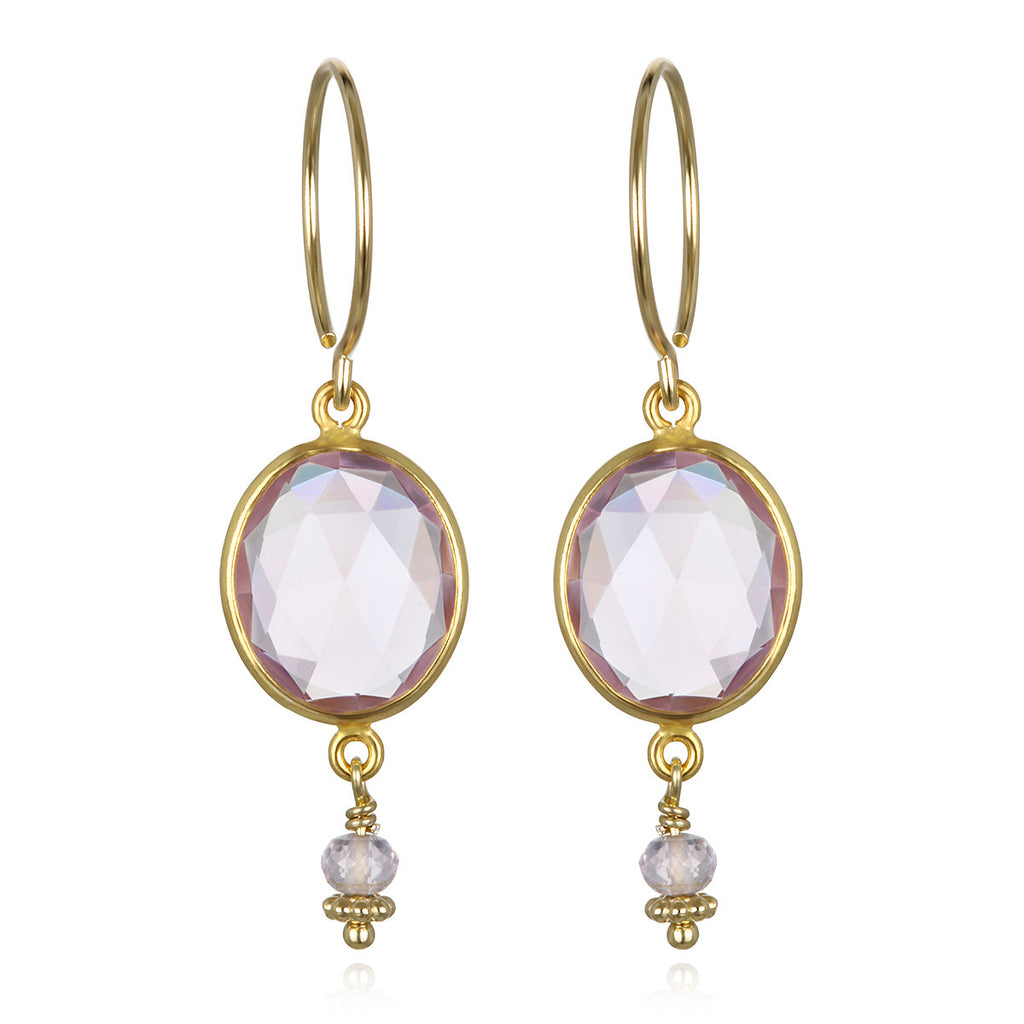 Lake Como Earring - Pink Amethyst Gold