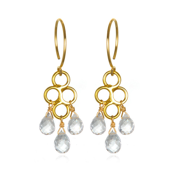Honeycomb Earring White Topaz Gold/Silver
