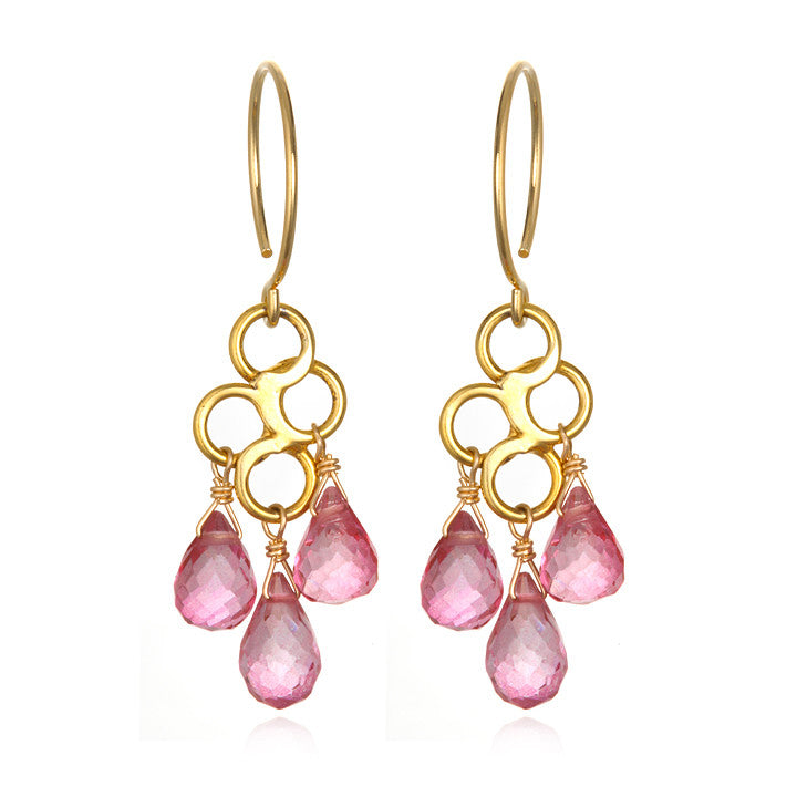 Honeycomb Earring Pink Topaz