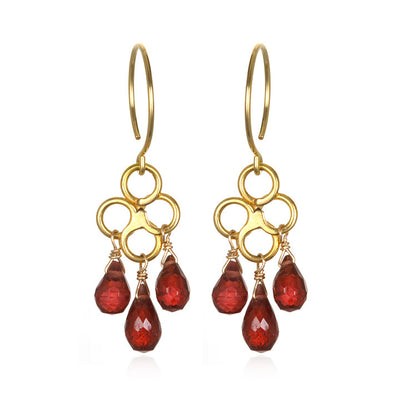 Honeycomb Earring Garnet Gold/Silver