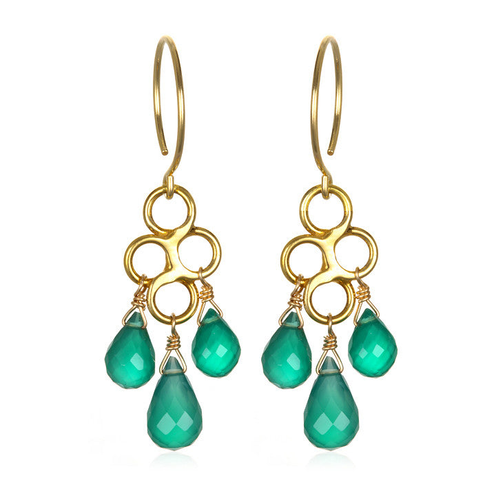 Honeycomb Earring Green Onyx Gold/Silver
