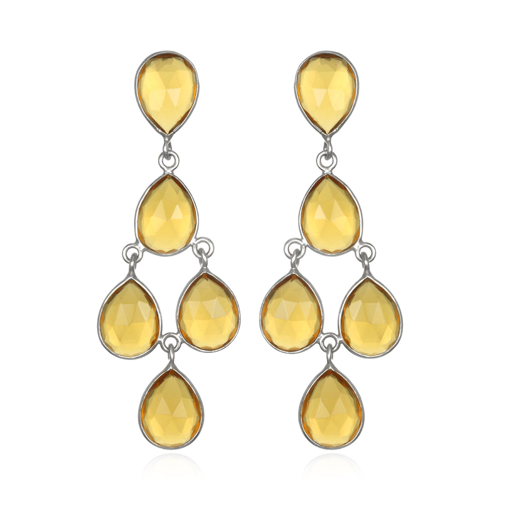 Chandelier Earrings - Citrine  Silver