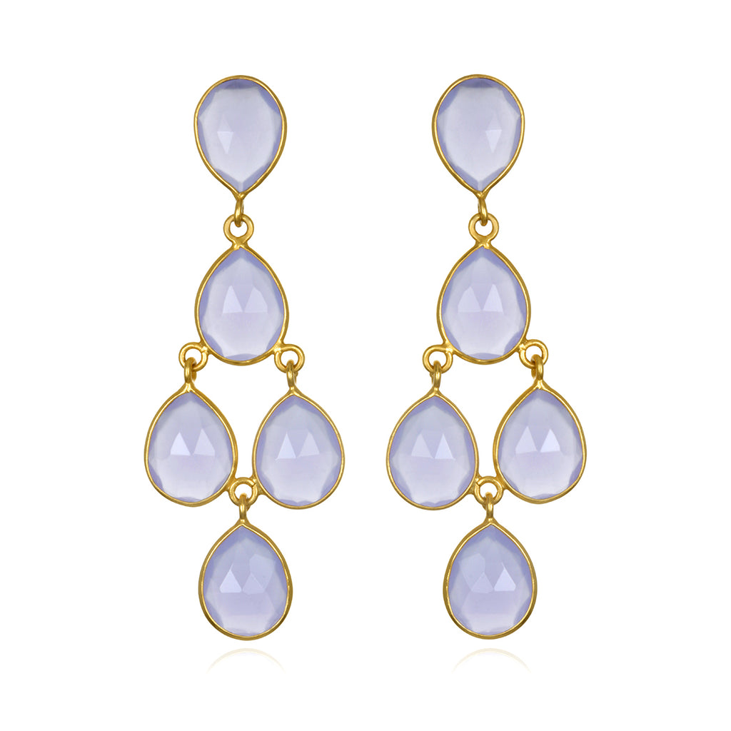Chandelier Earrings - Light Purple Gold