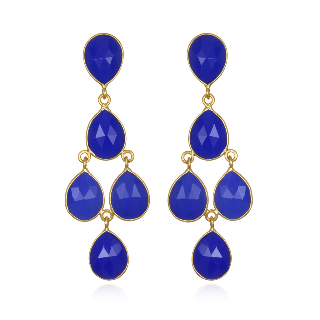 Dark Blue Chandelier Earrings Gold