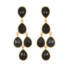 Black Chandelier Earrings Gold