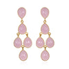 Pink Chandelier Earrings Gold