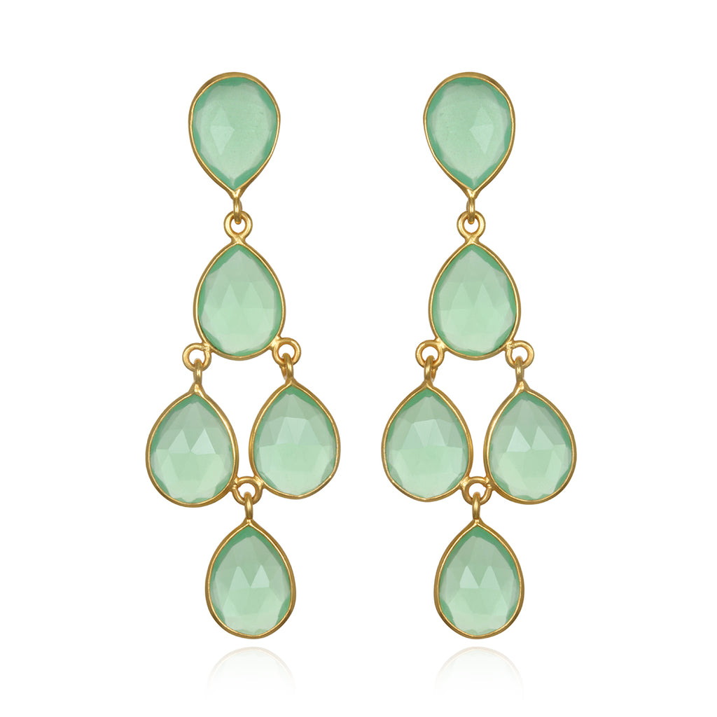 Mint Chandelier Earrings Gold