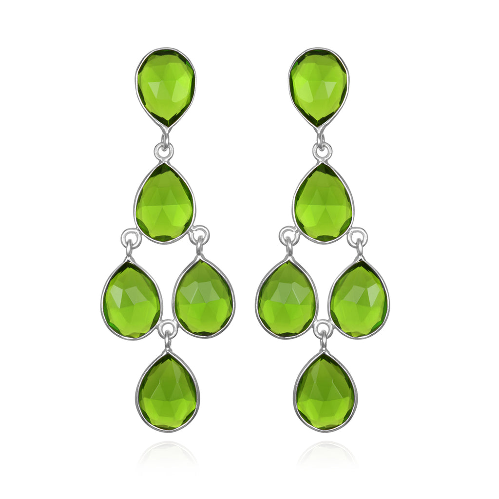 Chandelier Earrings - Lime Silver