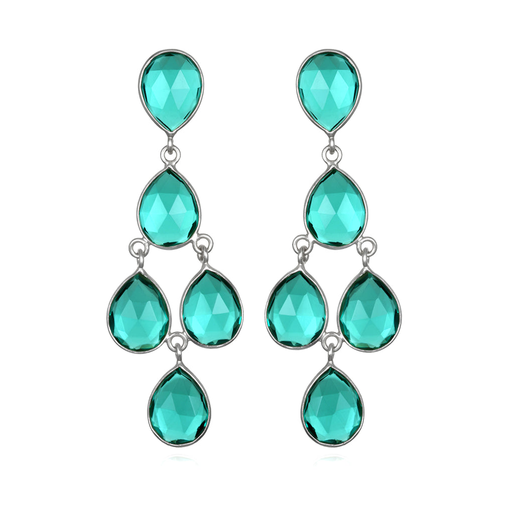 Aqua Chandelier Earrings Silver