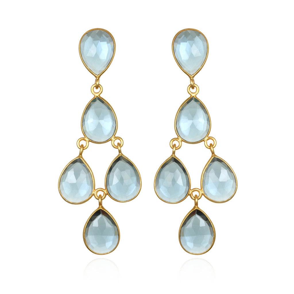 Sky Blue Chandelier Earrings Gold