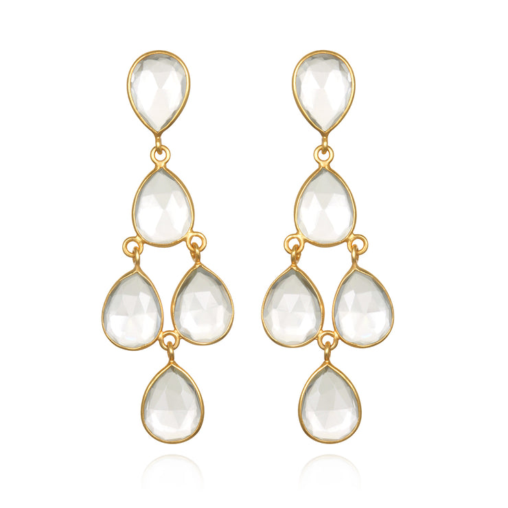Chandelier Earrings - Clear Gold