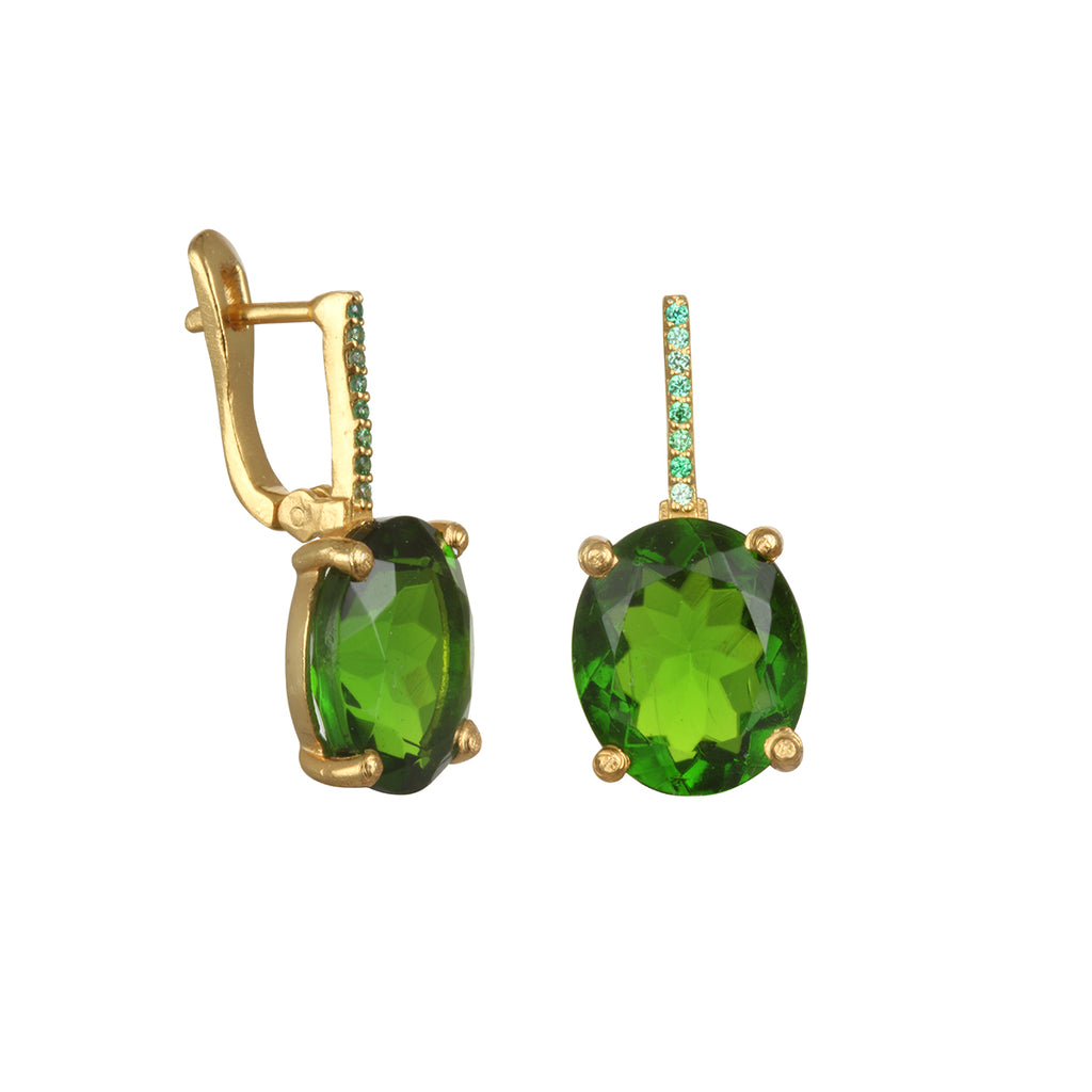 Charleston Earring - Lime Green Gold