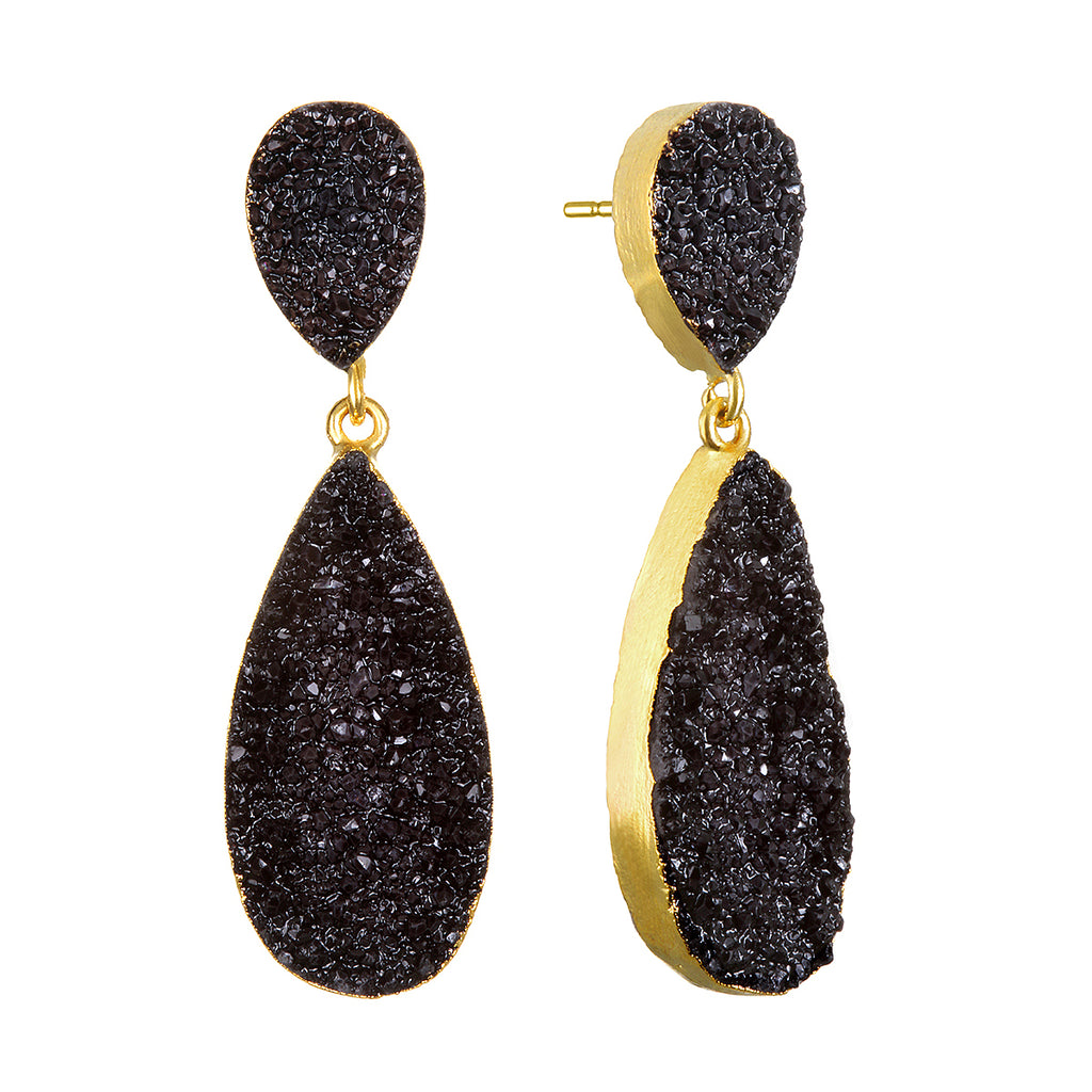 diamond small gold garnered posts earrings rebecca bezel shop the yellow black product peacock jewellery