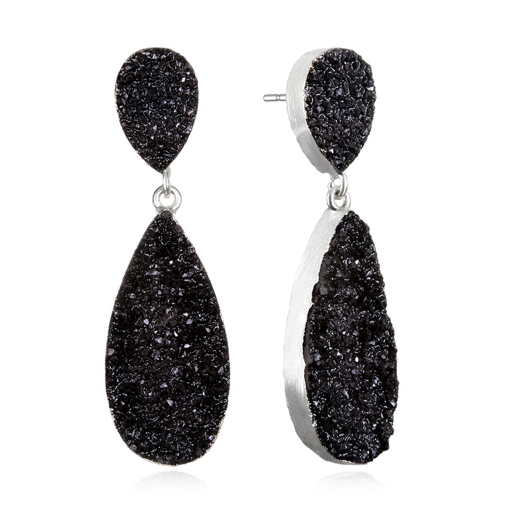 New York Druzy Earring - Black Silver
