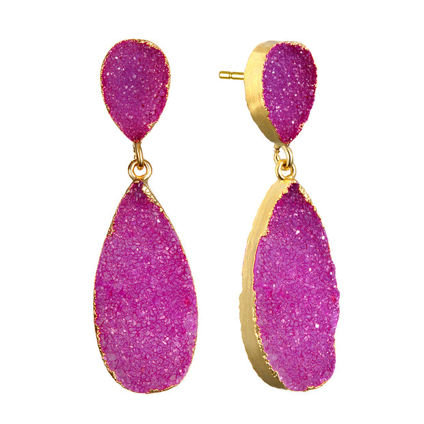 New York Druzy Earring - Fuchsia Gold