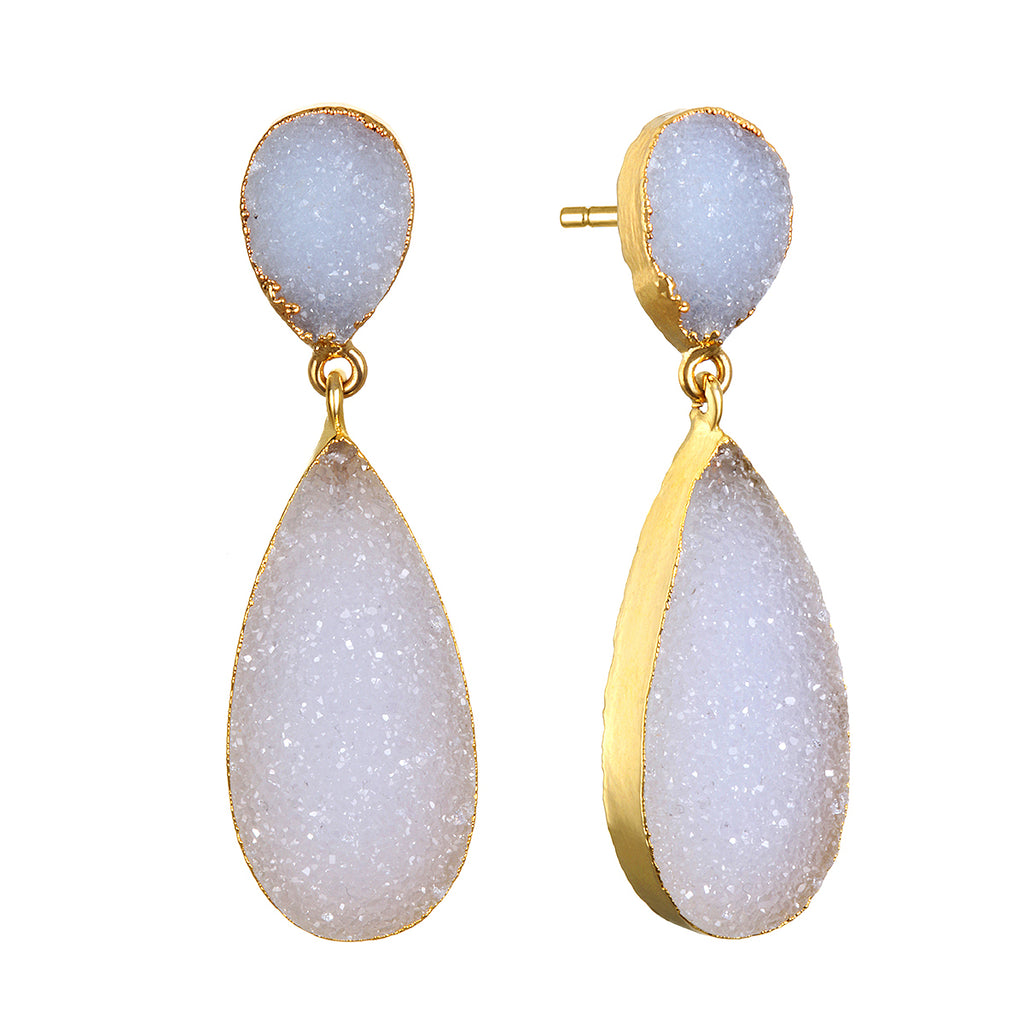 New York Druzy Earring - white Gold