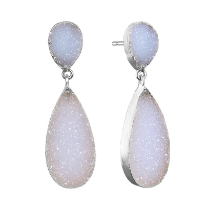 New York Druzy Earring - White Silver