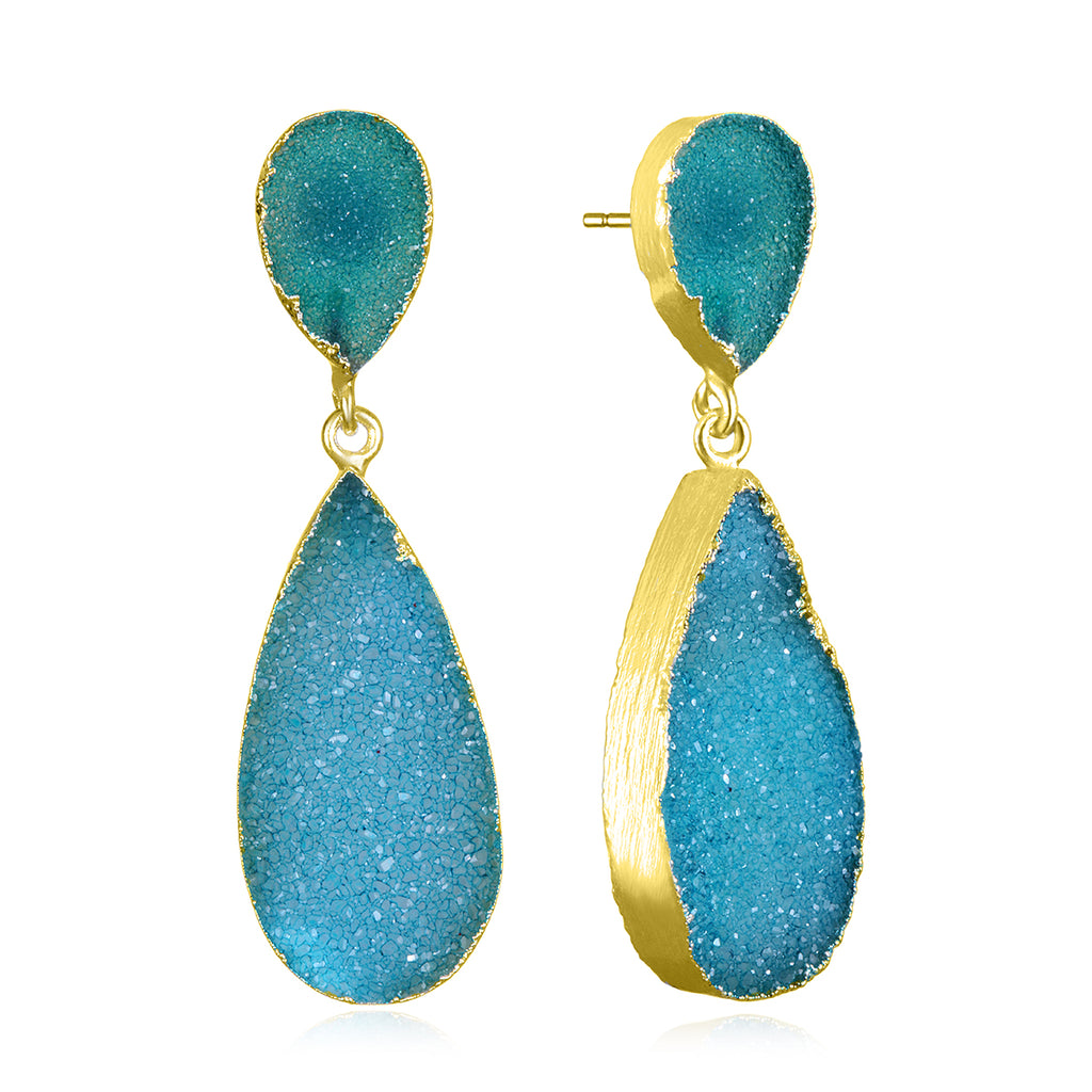 New York Druzy Earring - Teal Gold