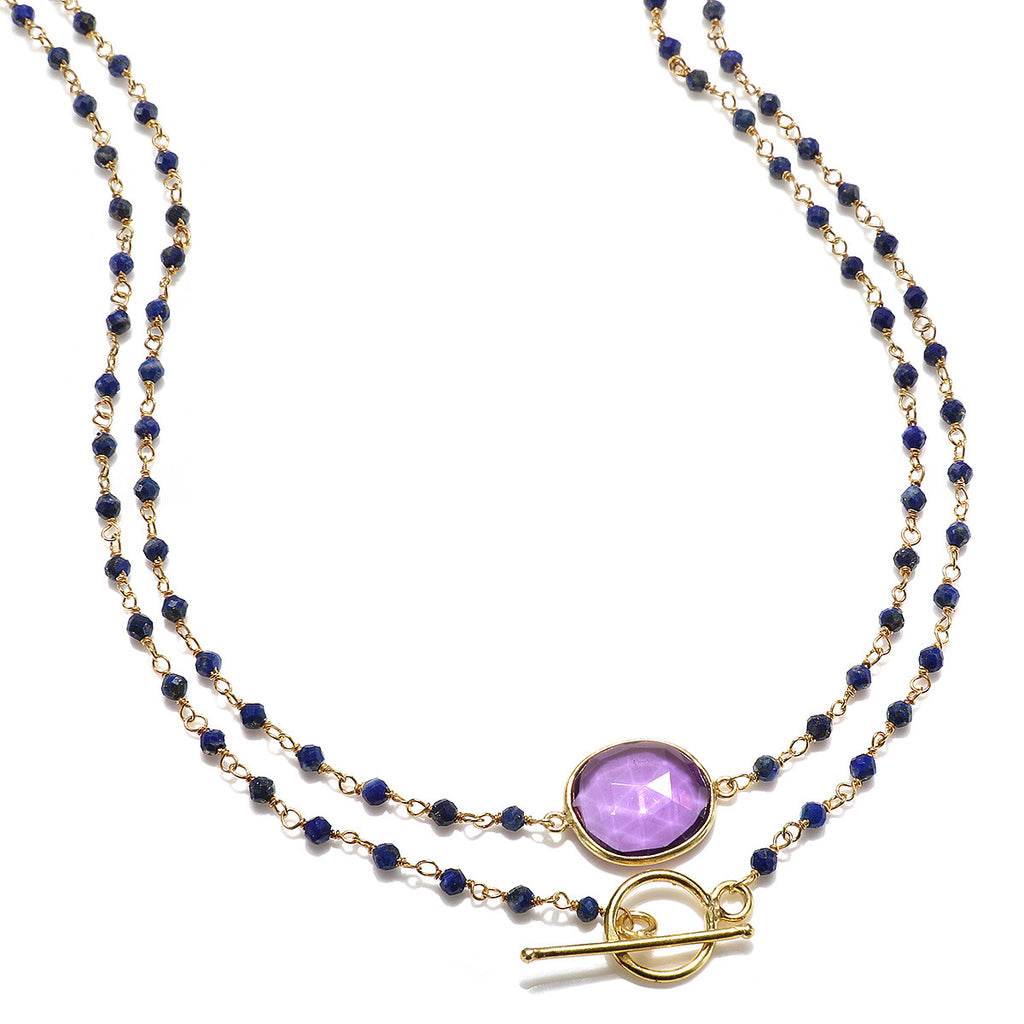 Mandello Necklace-Amethyst Lapis Gold