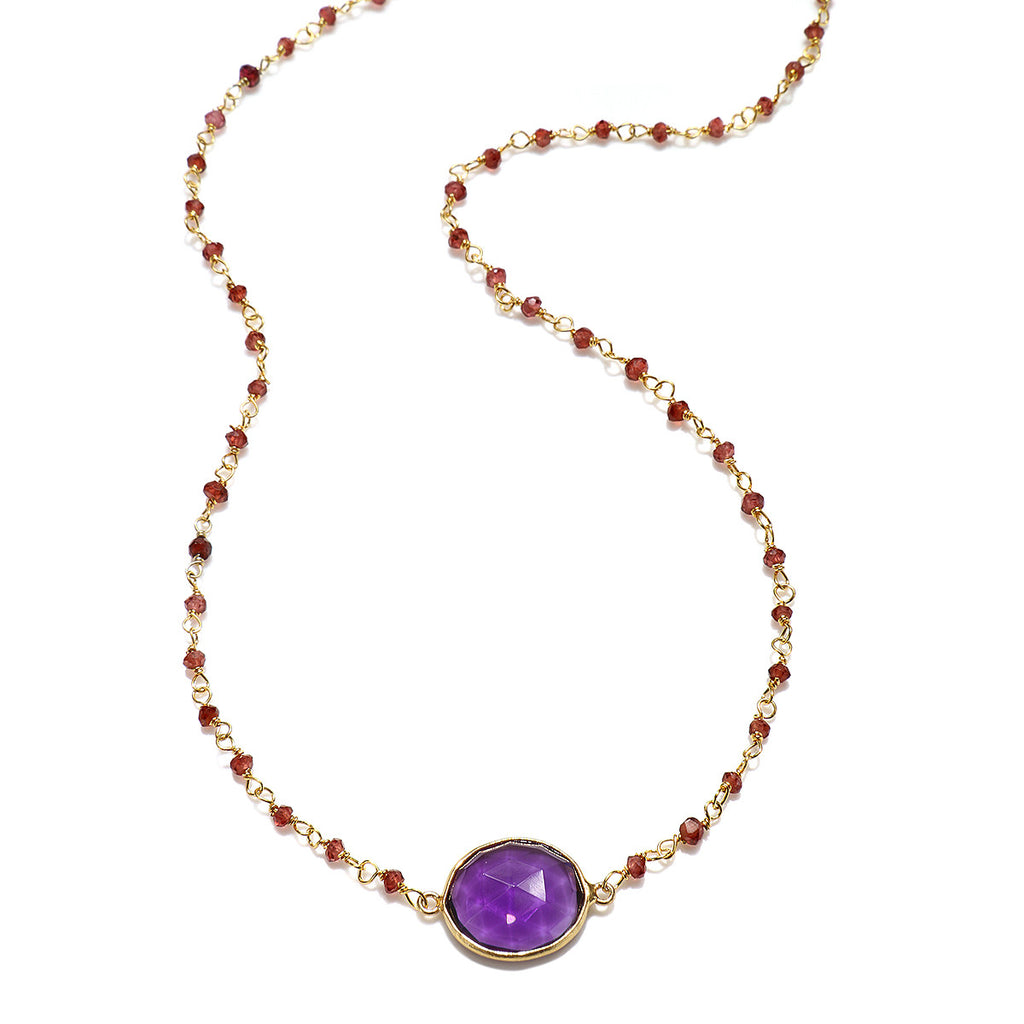 Lecco Necklace-Amethyst Garnet Gold