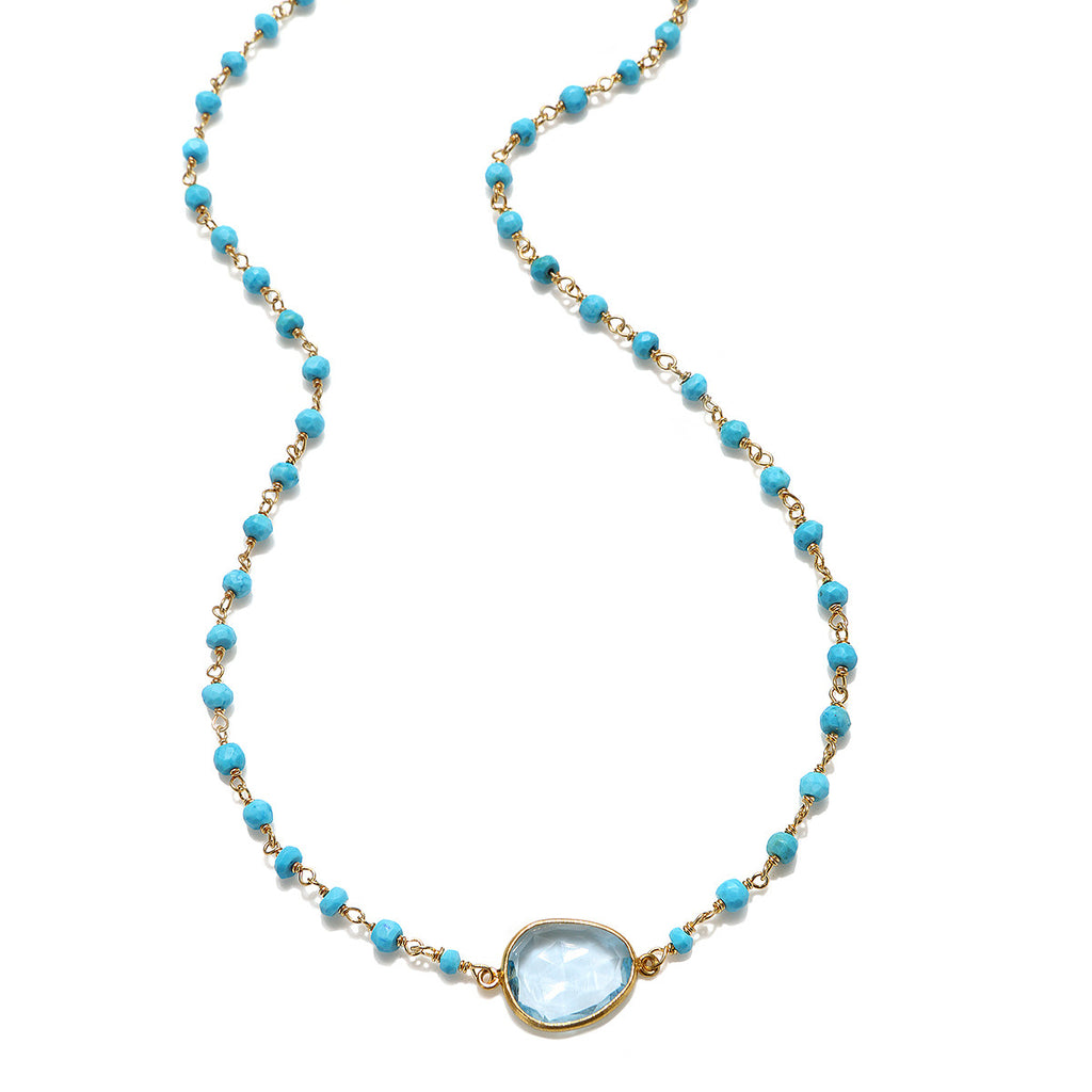 Lecco Necklace-Sky Blue Turquoise Gold
