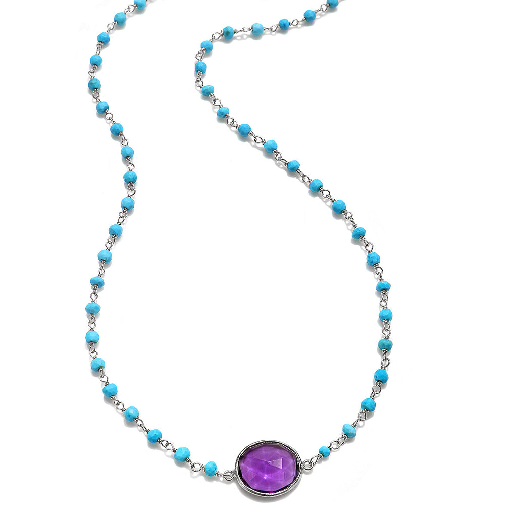 Lecco Necklace-Amethyst Turquoise Silver