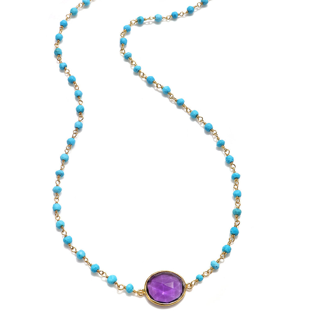 Lecco Necklace-Amethyst Turquoise Gold
