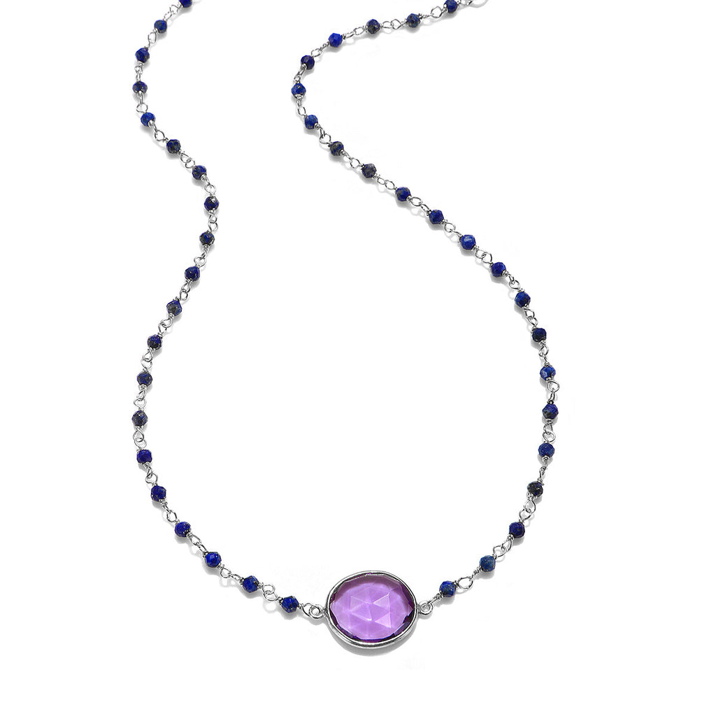 Lecco Necklace-Amethyst Lapis Silver