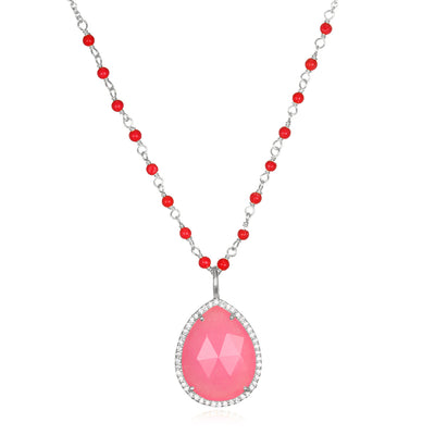 Paris Rondelle Necklace-Berry Pink Silver
