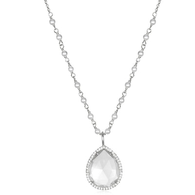 Paris Rondelle Necklace-Clear with Pearl Silver